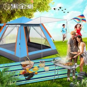 野营帐篷户外3-4全自动3秒速开防暴雨1单人2双人沙滩加厚账蓬野餐