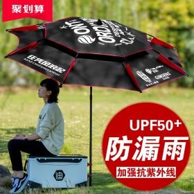 2.4米防暴雨加厚万向鱼伞钓鱼伞大钓伞 遮阳防雨防晒防风专用雨伞