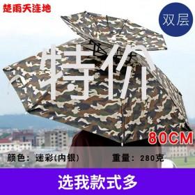 双层防风防雨钓鱼伞帽头戴式雨伞防晒折叠头顶雨伞帽户外遮阳垂11