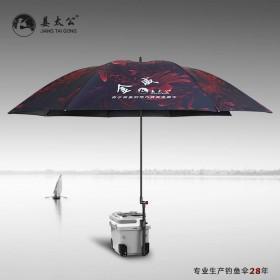 姜太公2019新款双层钓鱼伞大钓伞加固加厚防风雨伞垂钓遮阳伞鱼伞