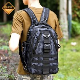 户外双肩背包战术男多功能登山骑行迷彩路亚单肩渔具包电脑包书包